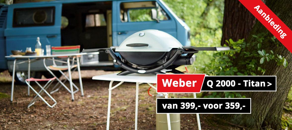 Weber Q2000 - titan gasbarbecue aanbieding