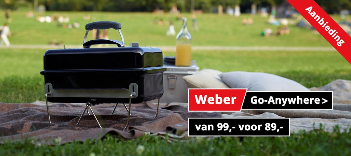 Weber Go-Anywhere houtskoolbarbecue aanbieding